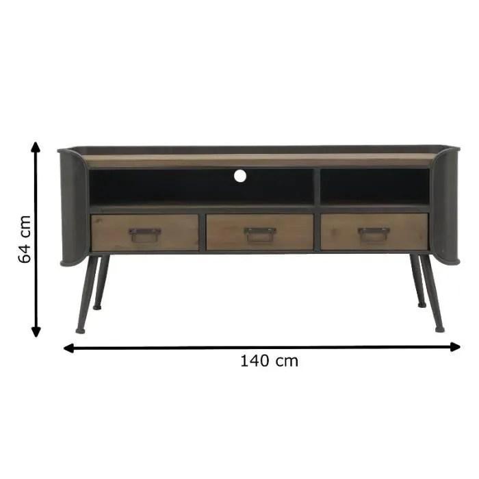 meuble tv d angle bois et fer