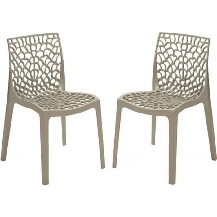 lot de 2 chaises design grises opaques filet plas