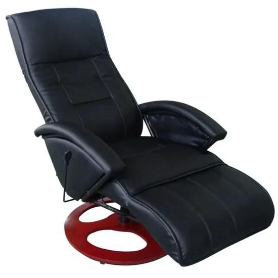 fauteuil inclinable electrique de relaxation noir avec 10 programmes de massage fonction de minuterie design ergonomique