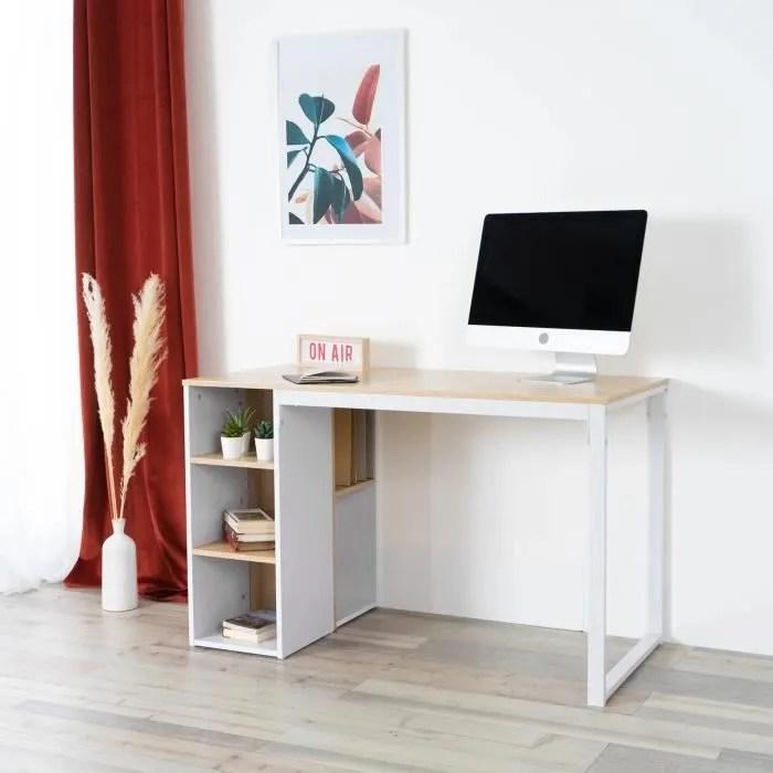 bureau etagere rangement chene blanc bois metal