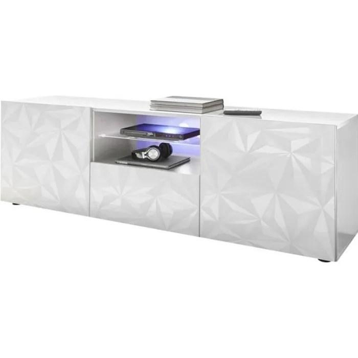 meuble tv 2 portes 1 tiroir laque blanc brillant a