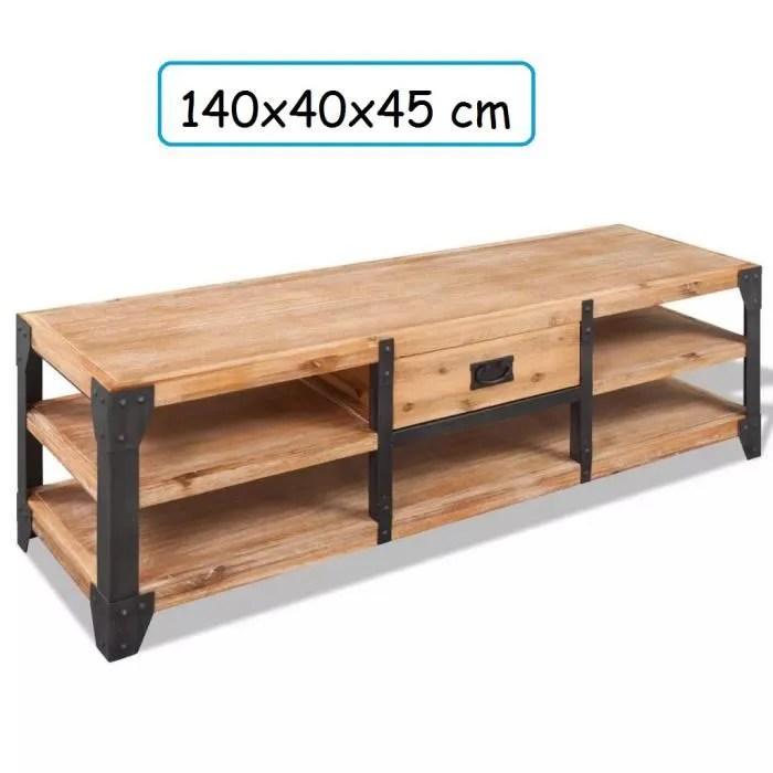 meuble tv large en bois d acacia massif avec renfo