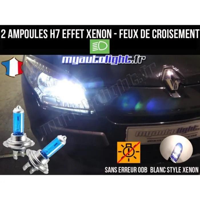 pack ampoules h7 blanc xenon feux croisement code pour renault megane 3