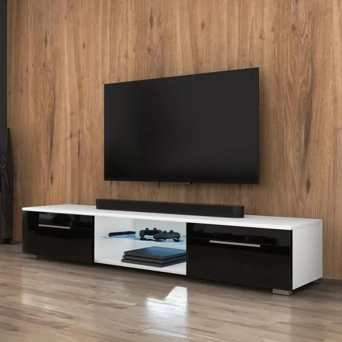 meuble tv meuble salon syvis 140 cm blanc mat noir brillant avec led style moderne