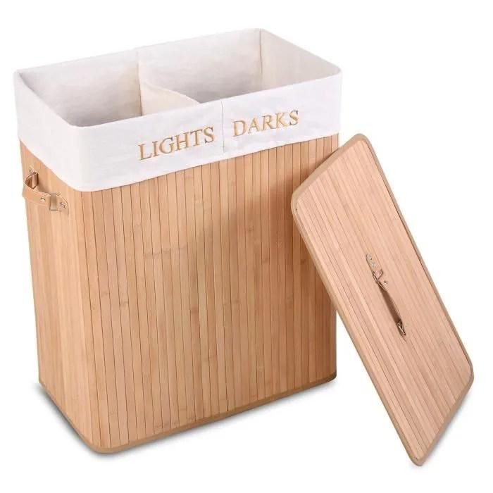 Giantex Panier A Linge En Bambou Rectangulaire Deux Compartiments Volume 105l Bois Clair Achat Vente Panier A Linge Giantex Panier A Linge En B Cdiscount