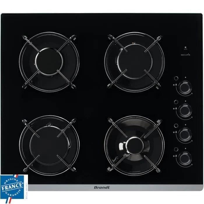 brandt bpg6413b plaque de cuisson gaz 4 foyers l 51 x p 58 cm revetement verre noir