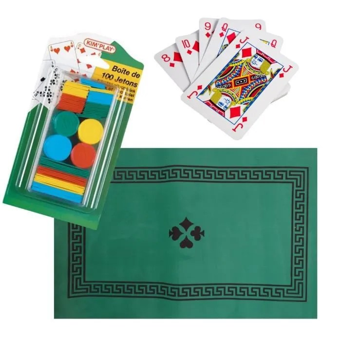 set special belote coinche tapis de jeux feutrine 100 jeton 32 carte