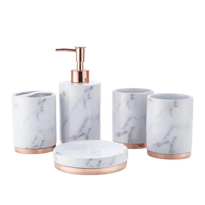 accessoires salle de bain set 5 pcs marbre ceramique marbre blanc