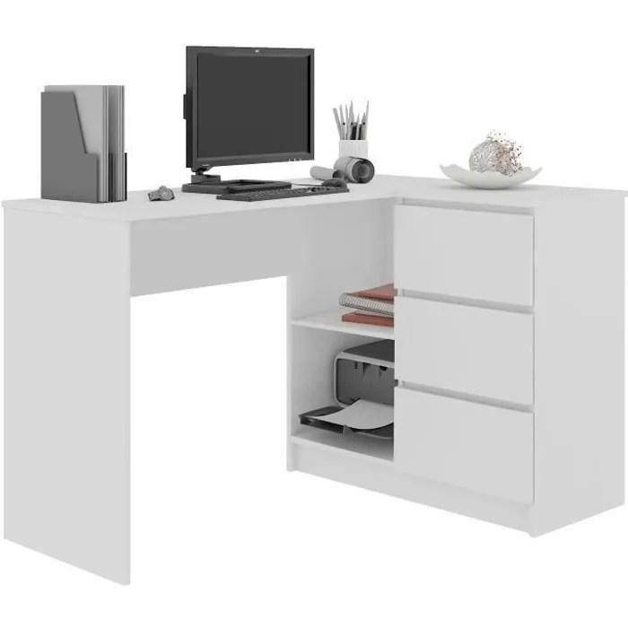 sundar bureau informatique d angle moderne 124 5x85x77 3 tiroirs 2 grandes niches table ordinateur multi rangements blanc
