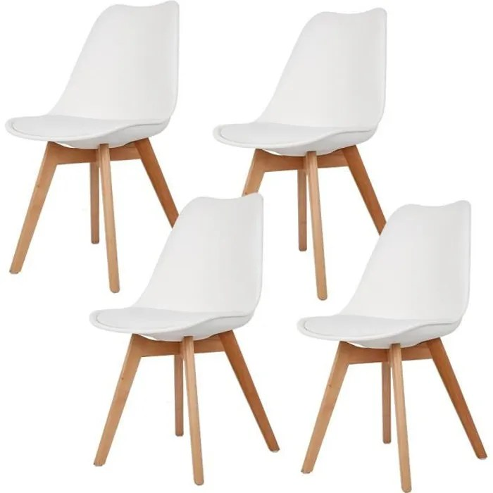 lot de 4 chaises blanches scandinaves