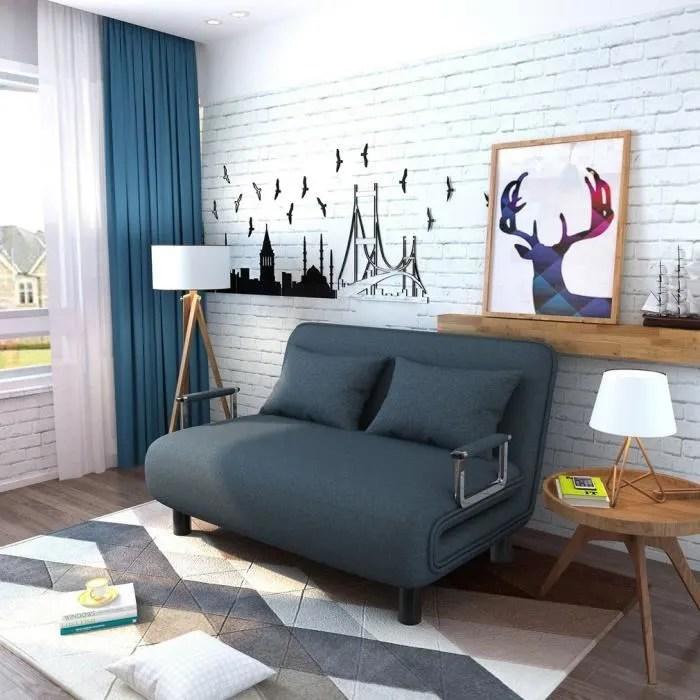 Bleu 2 En 1 Canape Lit Pliable 2 Places 190x120x26cm Sofa Lit De Maison Haute Qualite Achat Vente Canape Sofa Divan Cdiscount