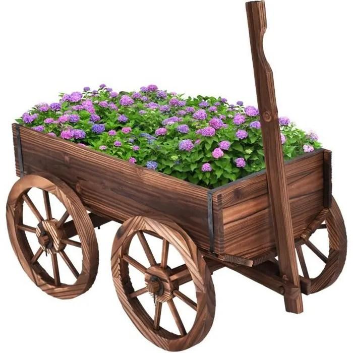 costway chariot de jardin en bois