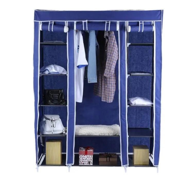 penderie armoires etagere tissu bleu