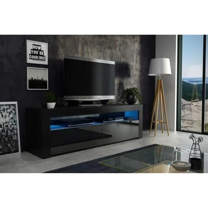 meuble tv noir led