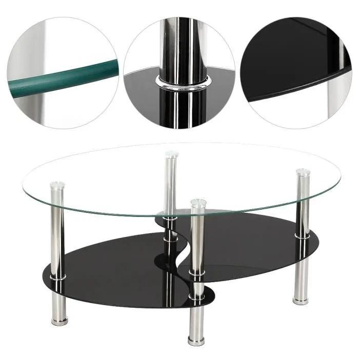 table basse ovale en verre a 2 niveaux tablette de rangement pieds en acier inoxydable avec surfaces en verre trempe noir