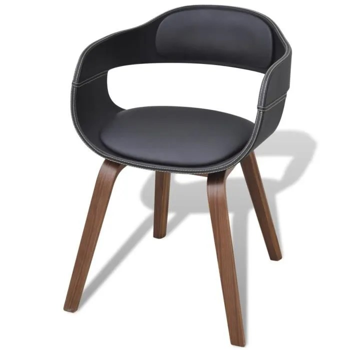 chaise en bois et simili cuir noir