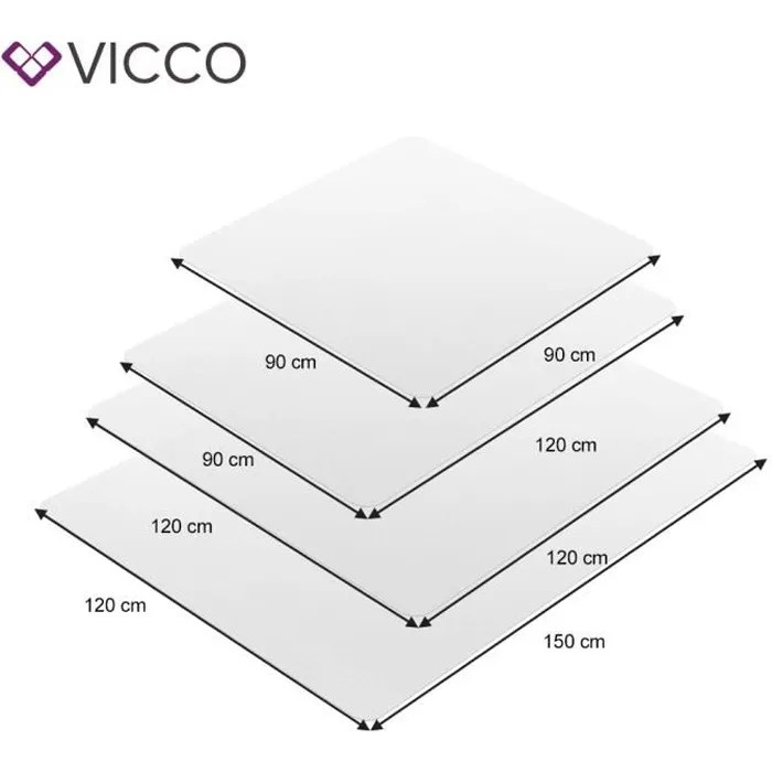 vicco tapis de protection du sol 120x120 chaise de bureau sous couche tapis de sol chaise sous couche blanc
