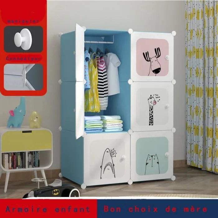 armoire enfant bleu 6 portes 1 treillis suspendu d