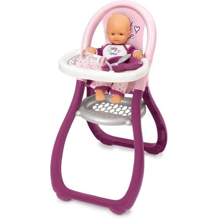 smoby baby nurse chaise haute poupon 2 accessoires