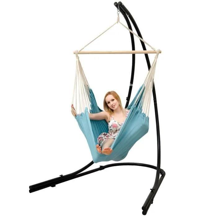 support hamac avec chaise suspendue xxl fauteuil de balancoire 360 bleu