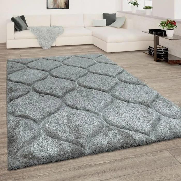 tapis de salon gris anthracite poils longs doux sh
