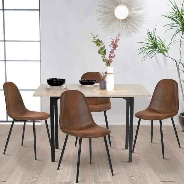 furnish1 lot de 4 chaises scandinave design tissu en daim marron pied metal noir salle a manger chaise uniquement