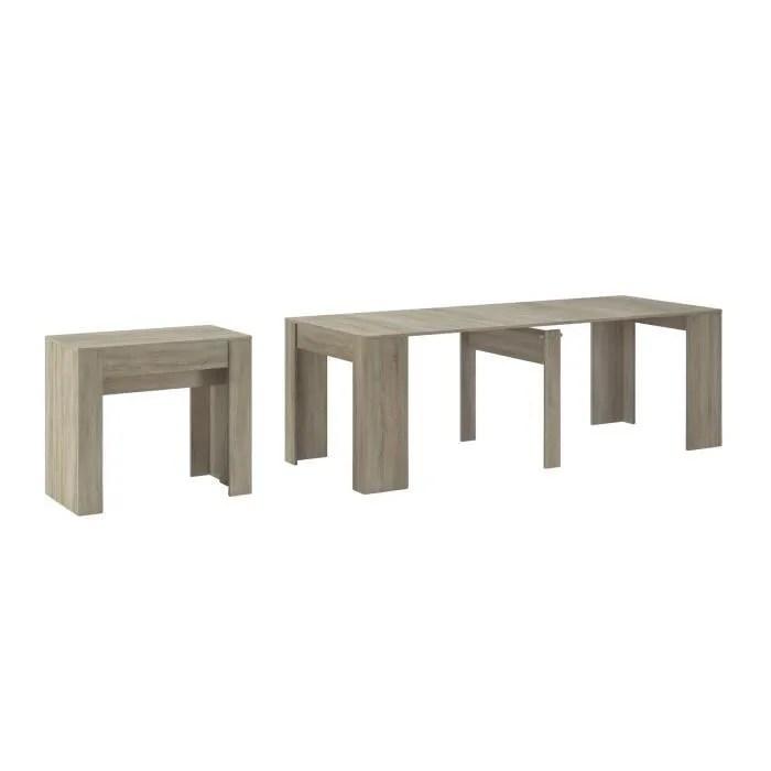 table de salle a manger console extensible jusqu a 237cm coloris chene clair dimensions fermee 90x50x78cm