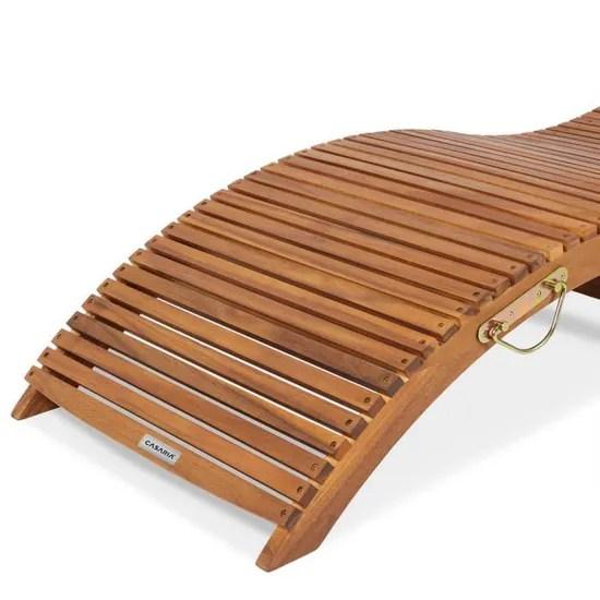 casaria chaise longue pliable en bois d acacia certifie fsc bain de soleil pliant avec appuie tete reglable jardin terrasse