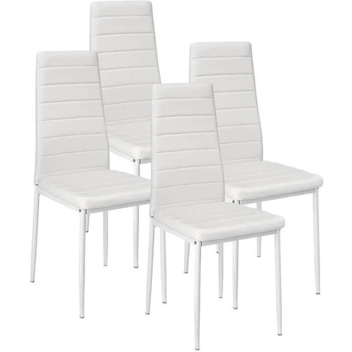 lot de 4 chaises blanches design contemporain nordique avec pieds en metal pour salle a manger