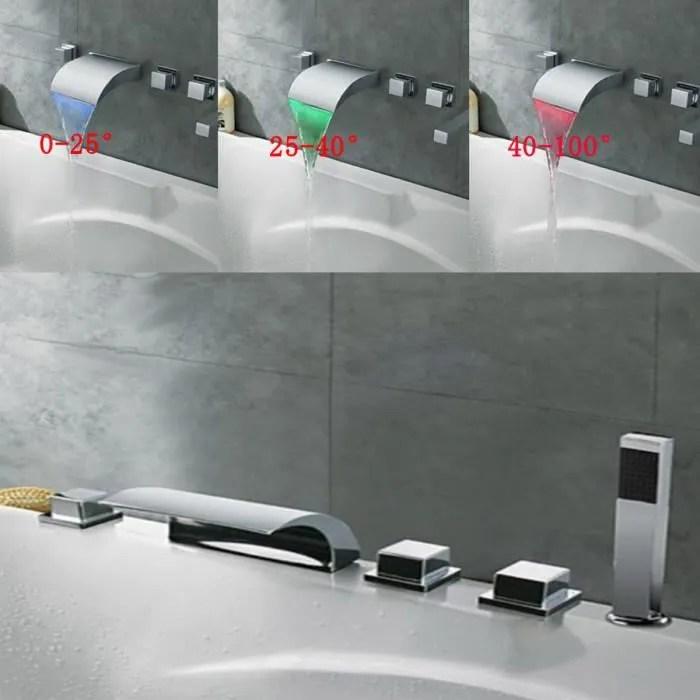 tempsa robinet douche led douchette mitigeur baign