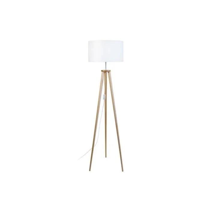miliboo lampadaire design trepied bois naturel tripod