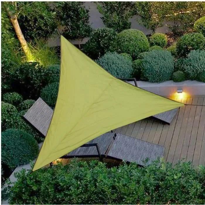 voile d ombrage triangulaire toile solaire matiere impermeable lavable en machine pour jardin et terrasse 4 4 4m armee
