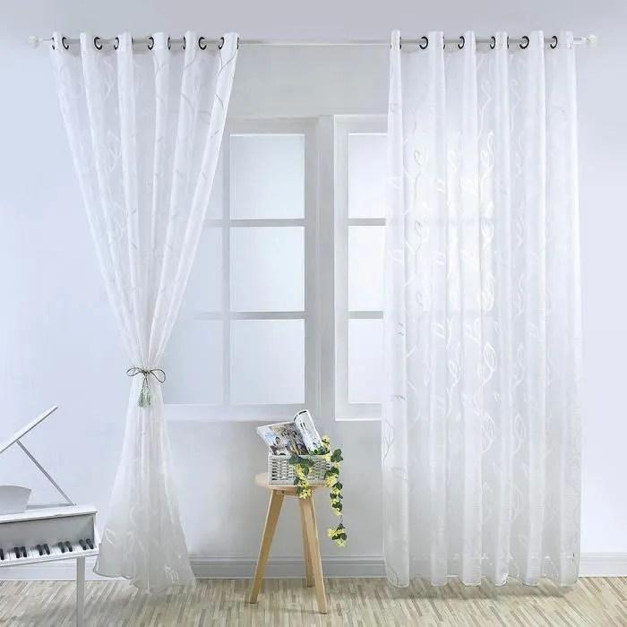 paire de rideau voilages feuillet blanc 100 x