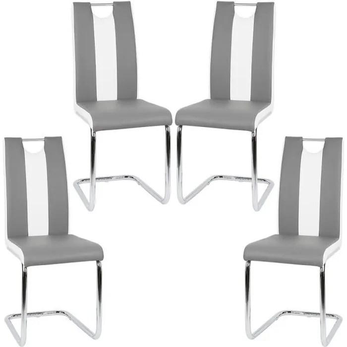 oobest lot de 4 chaises gris et blanc pour salle a manger