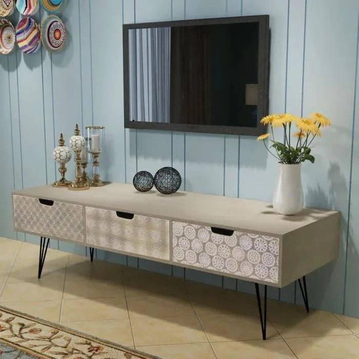 meuble tv meuble salon armoire bas scandinave decor contemporain audio video avec 3 tiroirs 120 x 40 x 36 cm gris
