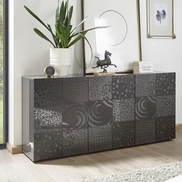 buffet gris laque 180 cm design elma 2