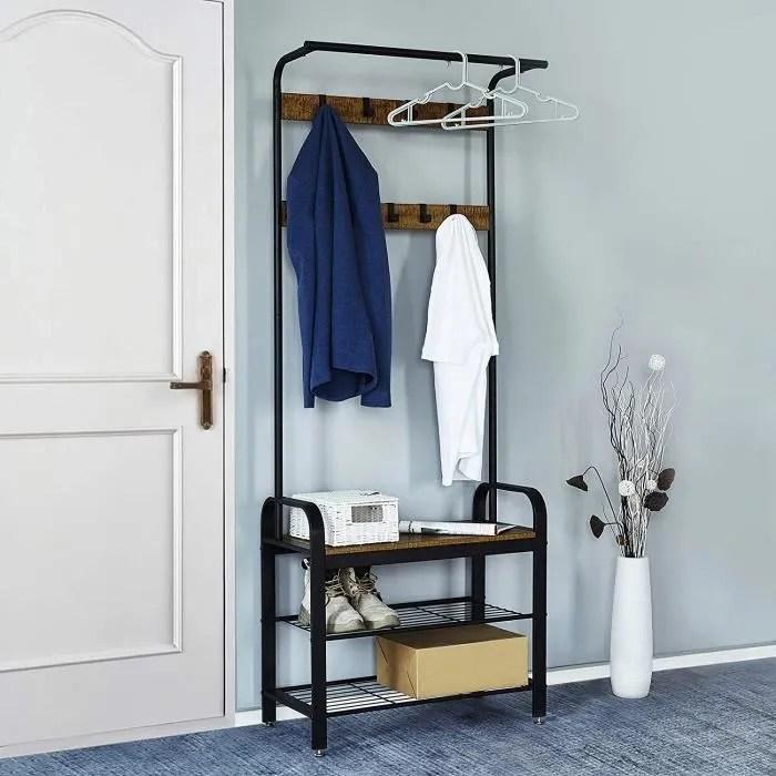 meuble d entree vestiaire portemanteau vintage etagere a chaussures a 3 niveaux meerveil