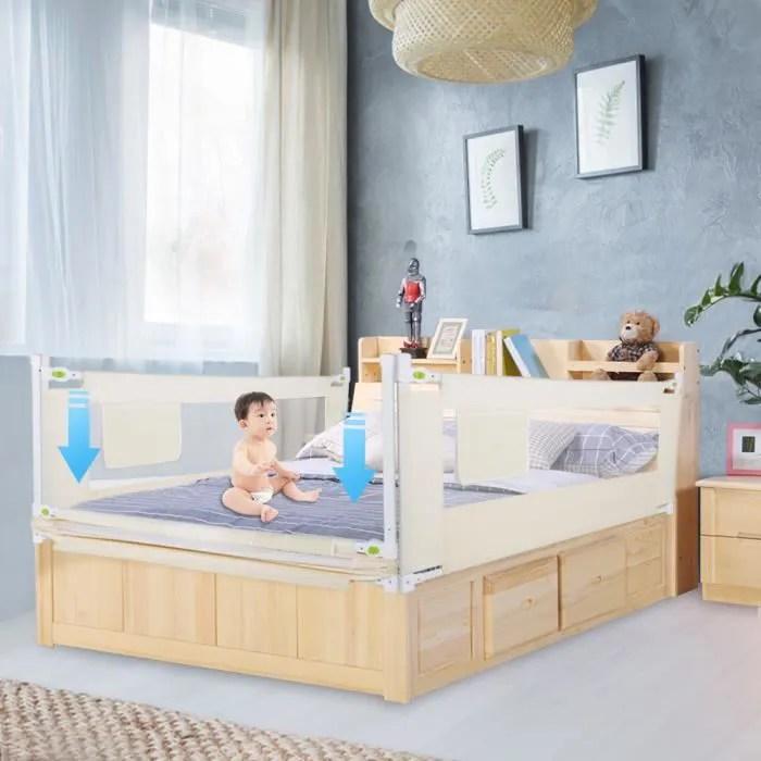 barriere de lit de securite bebe 200 68 cm blanc
