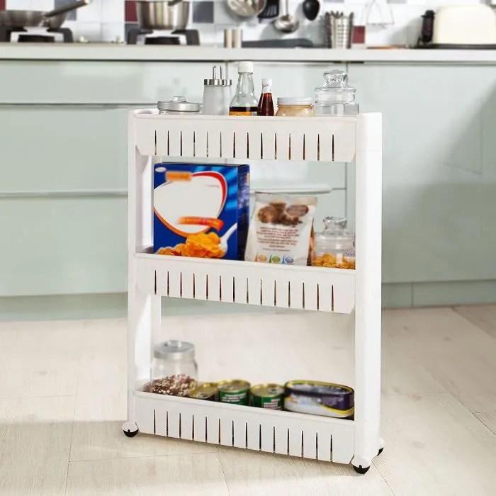 frg40 w chariot de stockage meuble de rangement a roulettes etagere de cuisine salle de bains 3 etages blanc