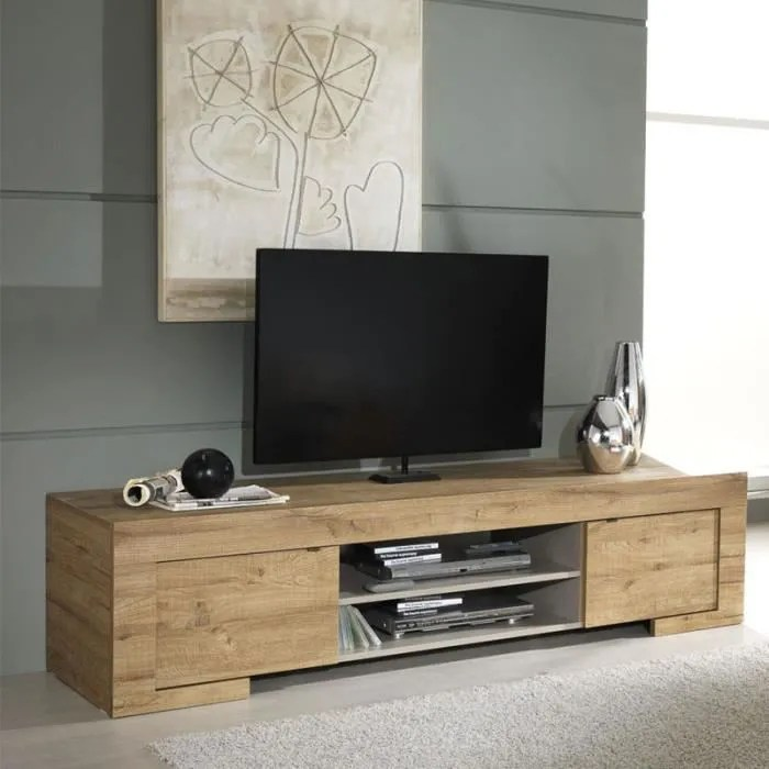 meuble tv couleur chene contemporain cadola