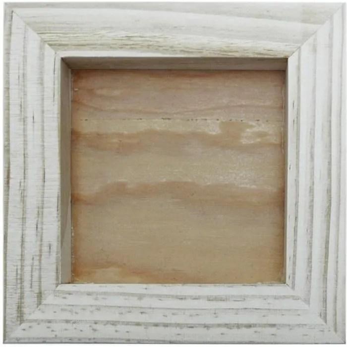 cadre bois brut pour objets et creation en relief 15 x 15 cm