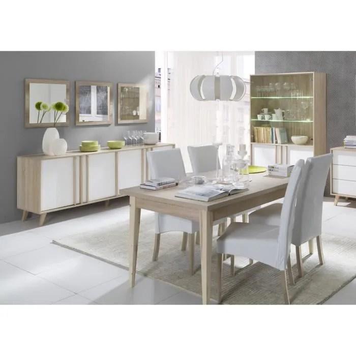 salle a manger complete malmo buffet bahut vaisselier 3 x miroirs table 160 cm meuble type scandinave