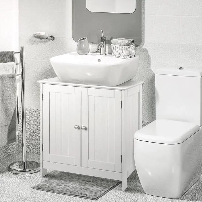 commode de rangement chambre meuble bas salle de bain tiroirs et cloison amovible style cottage blanc 60 x 30 x 80 cm