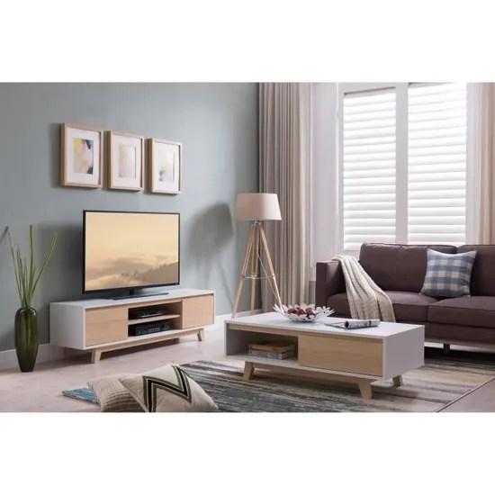 fjord meuble tv scandinave blanc et decor bois erable l 160 cm