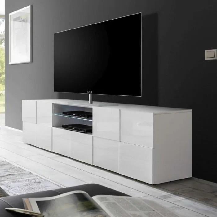 grand meuble tv blanc laque brillant dominos l 181
