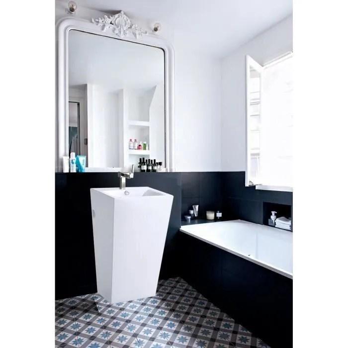 lavabo colonne totem en ceramique blanche l52 x h85 x p47 cm