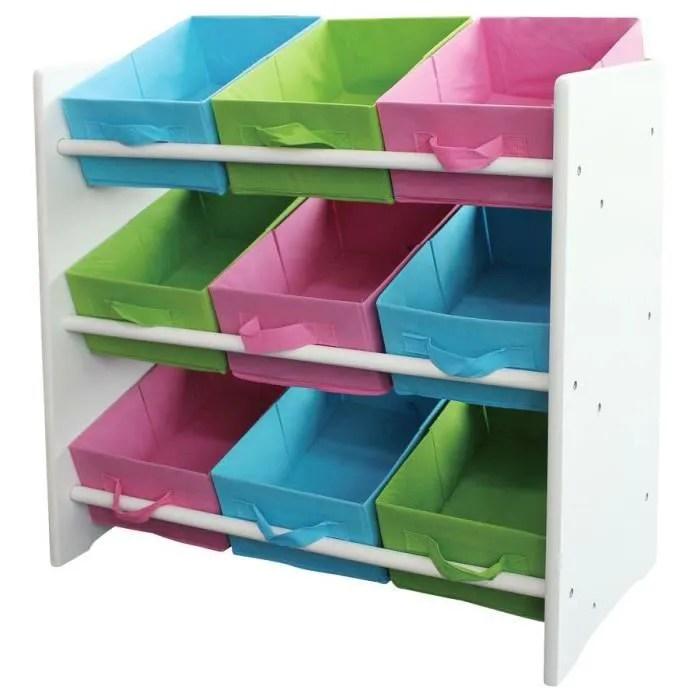 etagere meuble de rangement enfant bacs de rangement multicolore 66x30x70cm