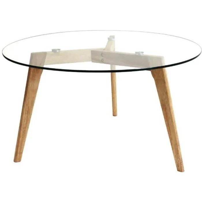 verane table basse ronde plateau verre