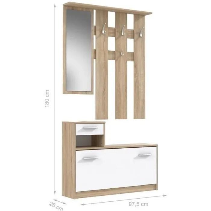 peili vestiaire d entree avec miroir scandinave decor chene et blanc l 97 cm