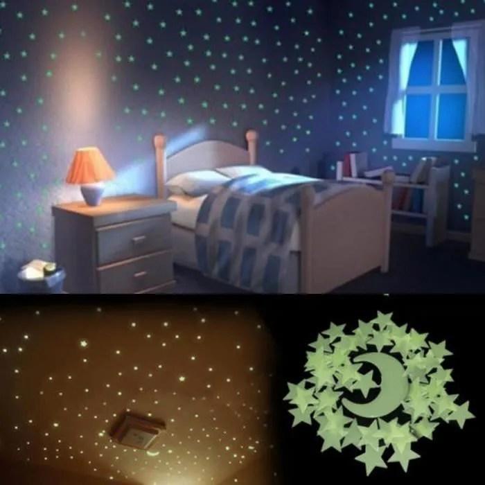 lot 100 etoiles une lune phosphorescente lumineuse la nuit adhesive autocollant muraux mural sticker